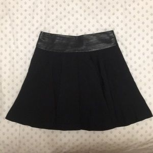 MILLY fit and flare wool and leather skirt